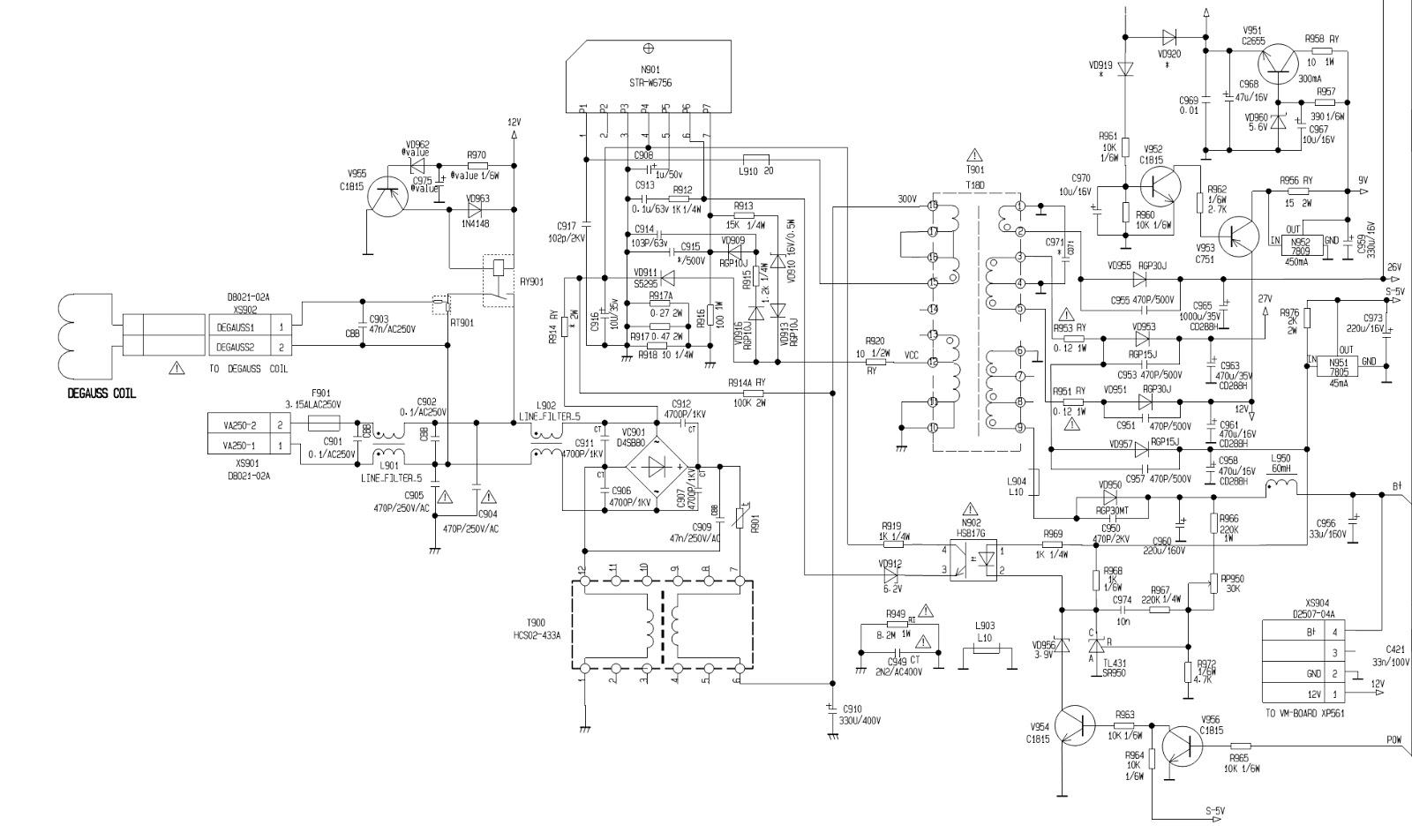 Konka Kp2962 Crt Tv Schematic Lv 116n Tda 7263 La 76932 T V Circuit Diagram 75665 8177 Str W6756 Hs817g Opto Coupler