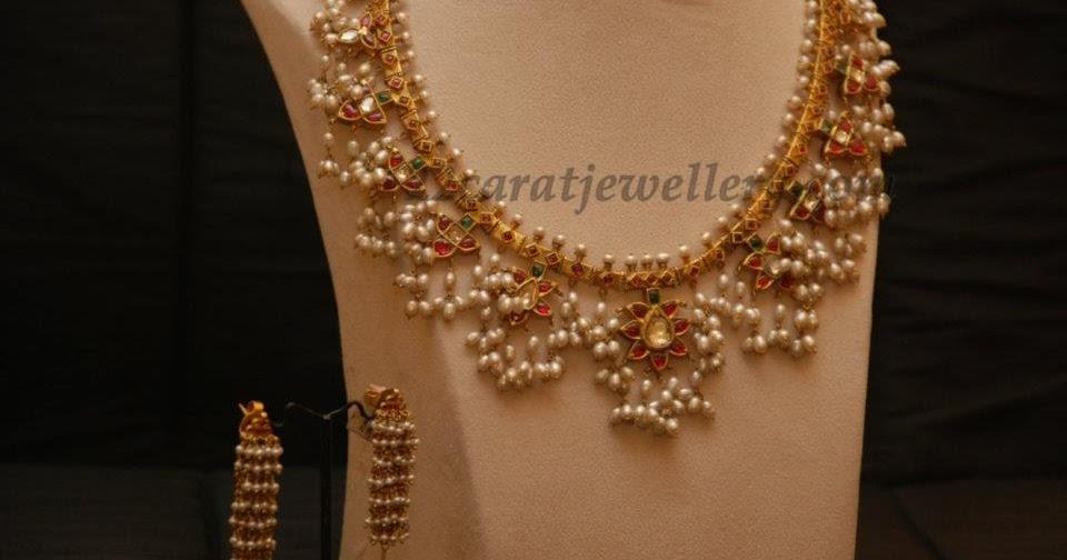 Light Weight Gutta Pusala Necklace Jewellery Designs