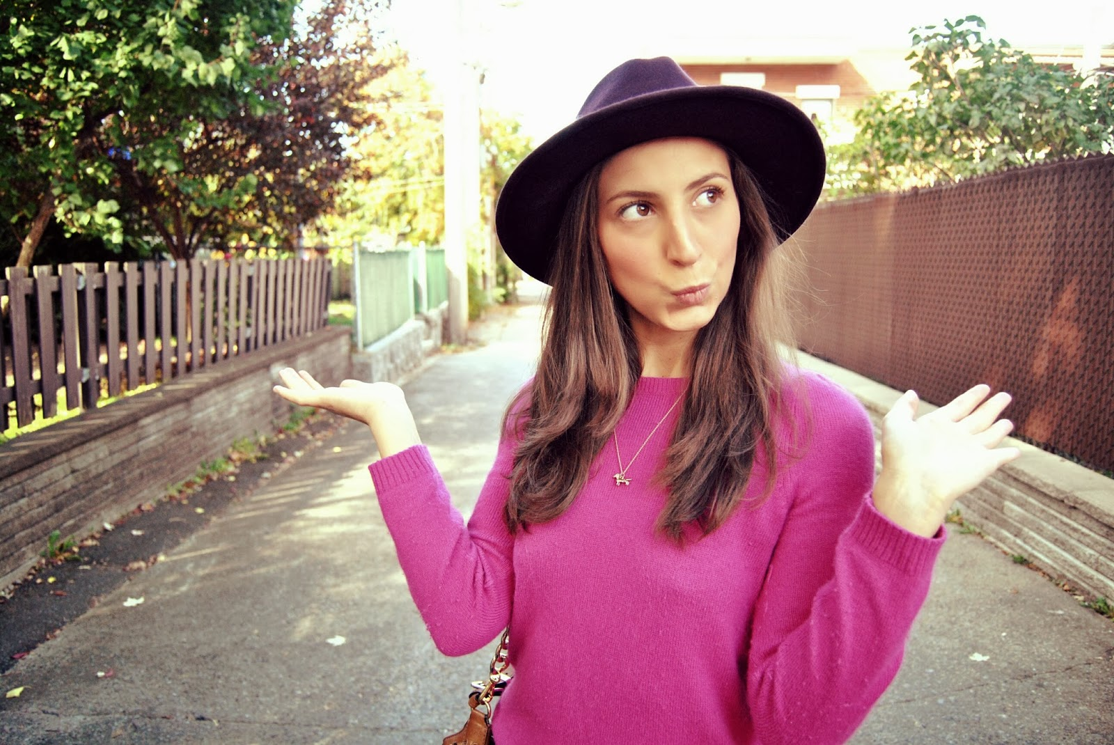 pink sweater purple eggplant hat fall fashion