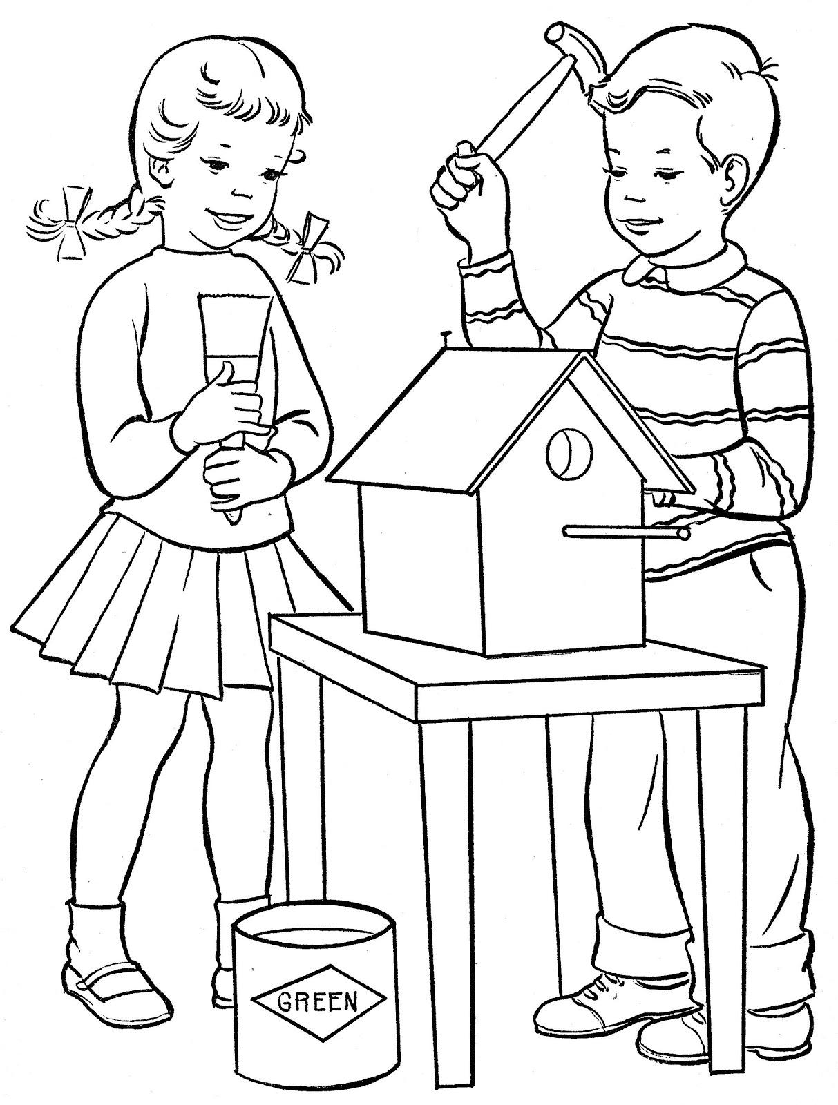 Desenhos para colorir ajudando em casa desenhos para colorir - Casa para pintar ...