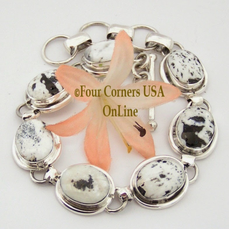 White Buffalo Turquoise Sterling Link Bracelet Navajo Artisan Wilson Padilla Four Corners USA OnLine Native American Jewelry NALB-1412