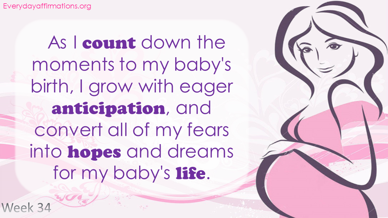 Positive Pregnancy Affirmations Third Trimester - Week 34