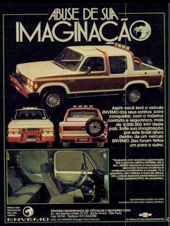 Propaganda da Chevrolet D-20, em sua versão 'Custom Envemo' apresentada em 1987.