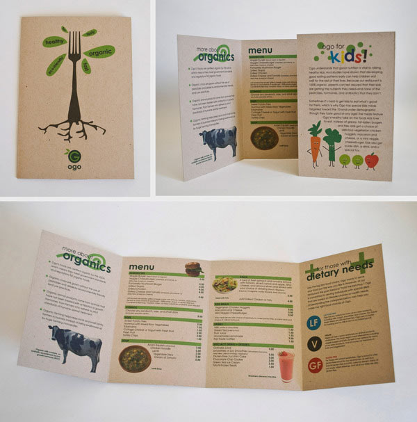 Brochure design for an organic fast food restaurant printed on 100% ...