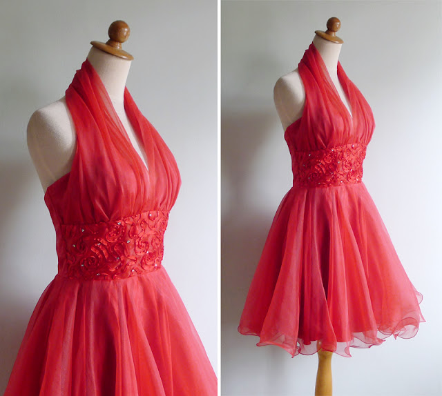 vintage 80s does 50s marilyn halter dress s m