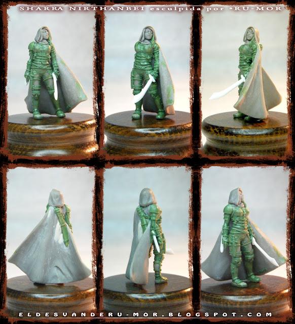 """Diversas vistas desde distintos ángulos de la miniatura (28mm) del personaje de rol de Aventuras en la Marca del Este """"Sharra Nirthanbei"""", realizada por ªRU-MOR"""
