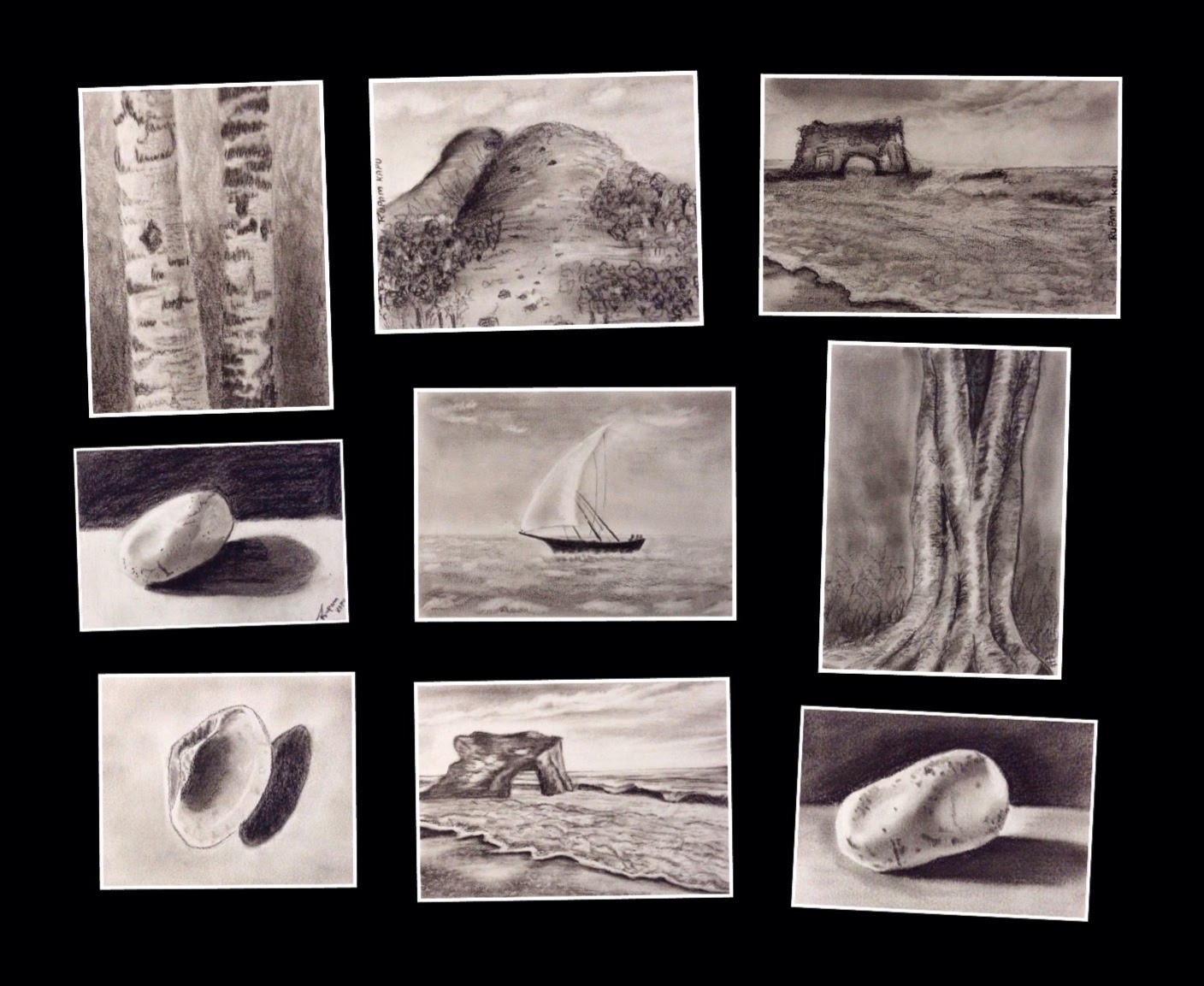 charcoal paintings done during a two days CHARCOAL WORKSHOP conducted by Manju Panchal