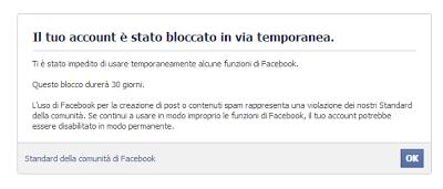 Il tuo account è stato bloccato in via temporanea
