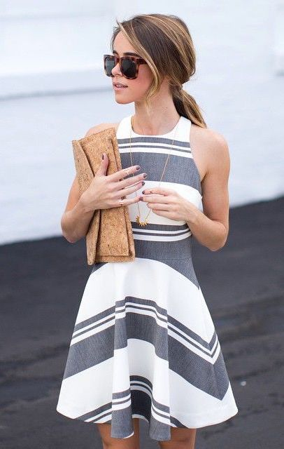 Just A Pretty Style Street Style White And Grey Striped Dress