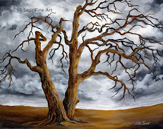 trees in art, trees on canvas