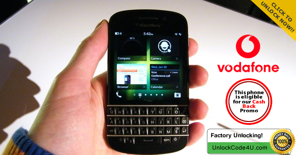 Factory Unlock Code for BlackBerry Q10 from Vodafone