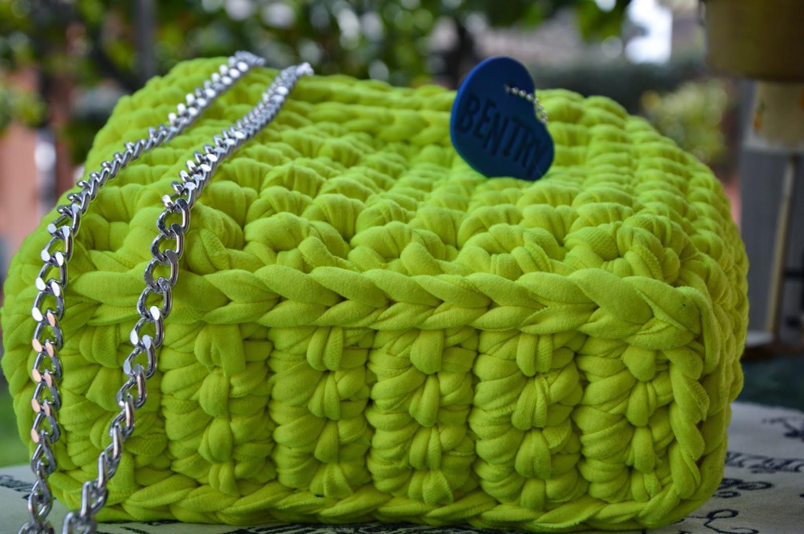 Borsa cotone felpato giallo fluo