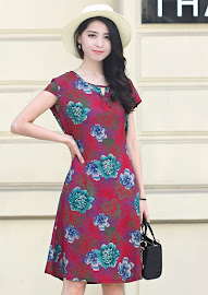 New 2018 Sweet Floral Plus Size Drawstring Waist Smooth Short Cotton Dress