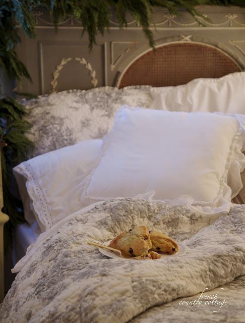 Christmas bedroom breakfast in bed