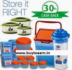 Tupperware, Milton, Lock & Lock & Cello extra 51% Cashback