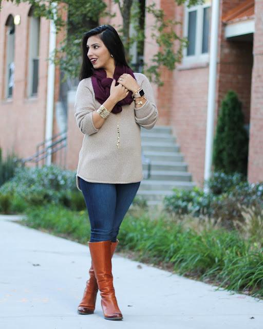 clarks indigo boots, paige denim, vera bradley, vera bradley jewelry, vera bradley tassle necklace, brown hm sweater, maroon scarf, fall fashion 2015, kat von d vampira