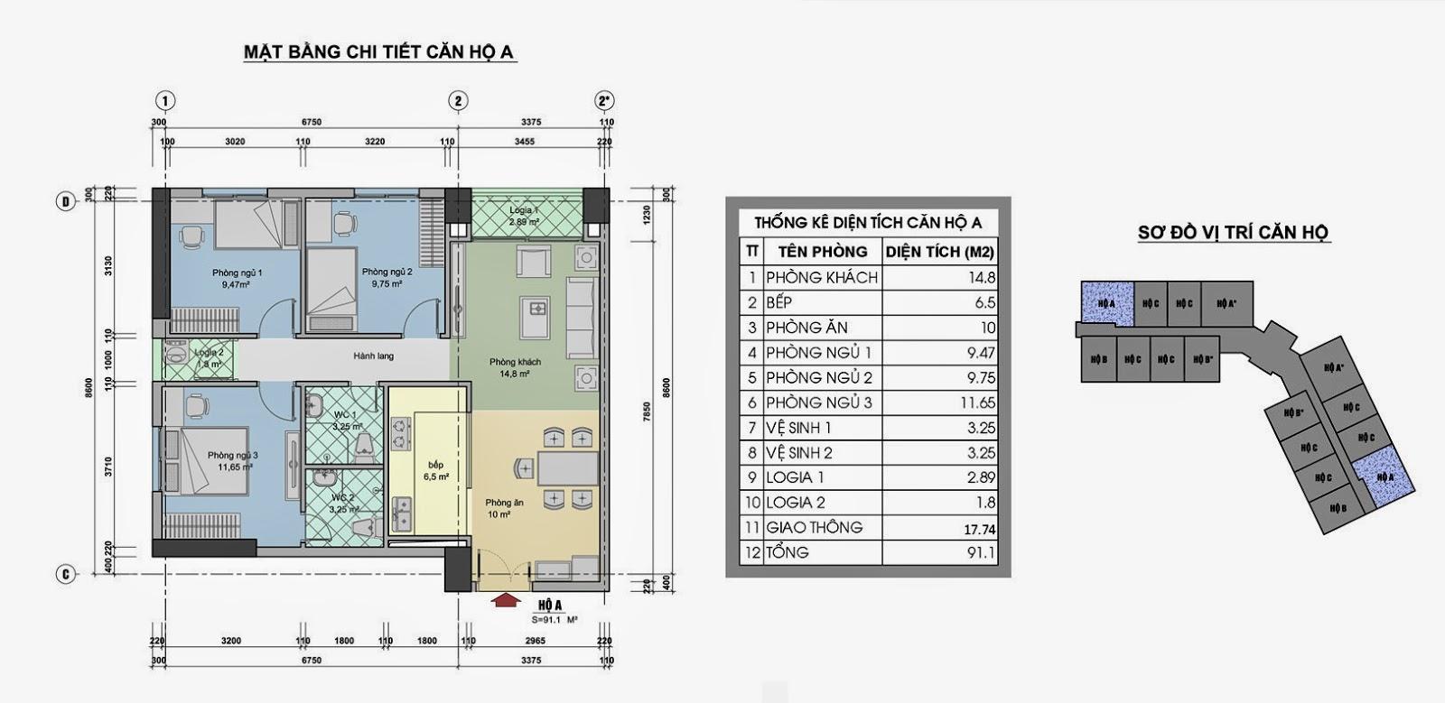 Chi tiết căn hộ chung cư ct3 linh đàm