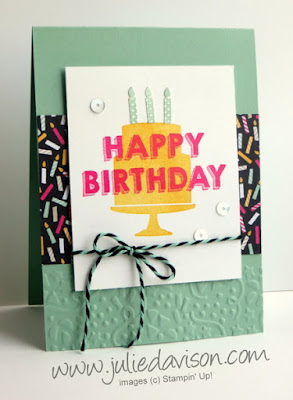 Occasions Catalog Sneak Peek: Party Wishes Birthday Card with It's My Party DSP, Party Punch Pack, Confetti Embossing Folder #stampinup www.juliedavison.com