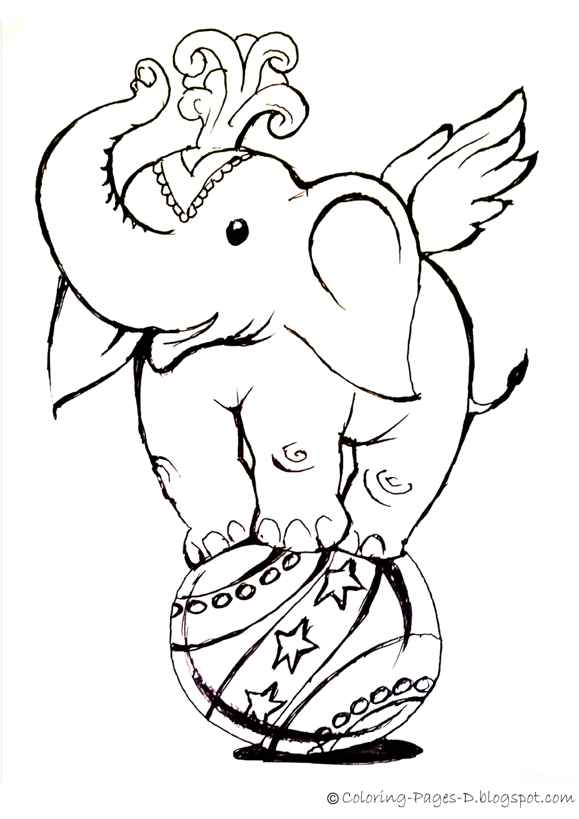 Circus Elephant On Ball Childrens Coloring Pages