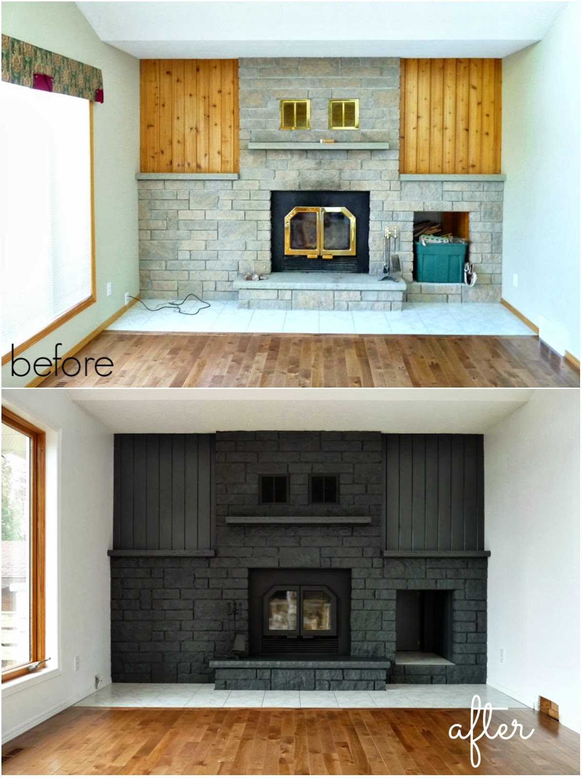 How to easily paint a stone fireplace charcoal grey fireplace budget friendly fireplace makeover by danslelakehouse how to paint a fireplace eventshaper