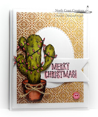 North Coast Creations stamp set: Cactus Lights, Our Daily Bread Designs Custom Dies: Stitched Ovals, Pennants, Flourished Star Pattern