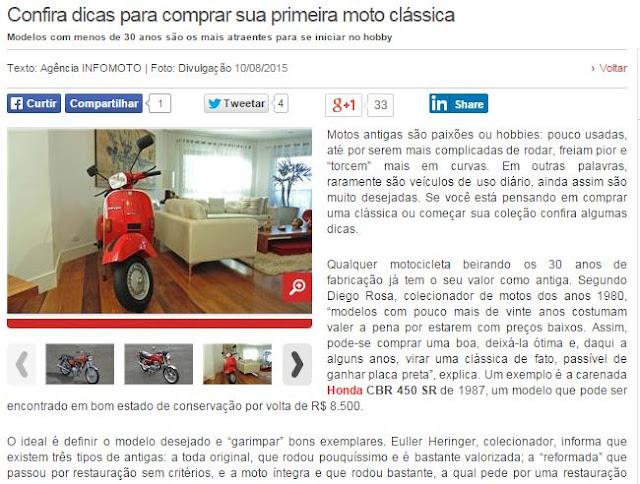 webmotors - MC80 no WEBMOTORS e UOL: Confira dicas para comprar sua primeira moto clássica.