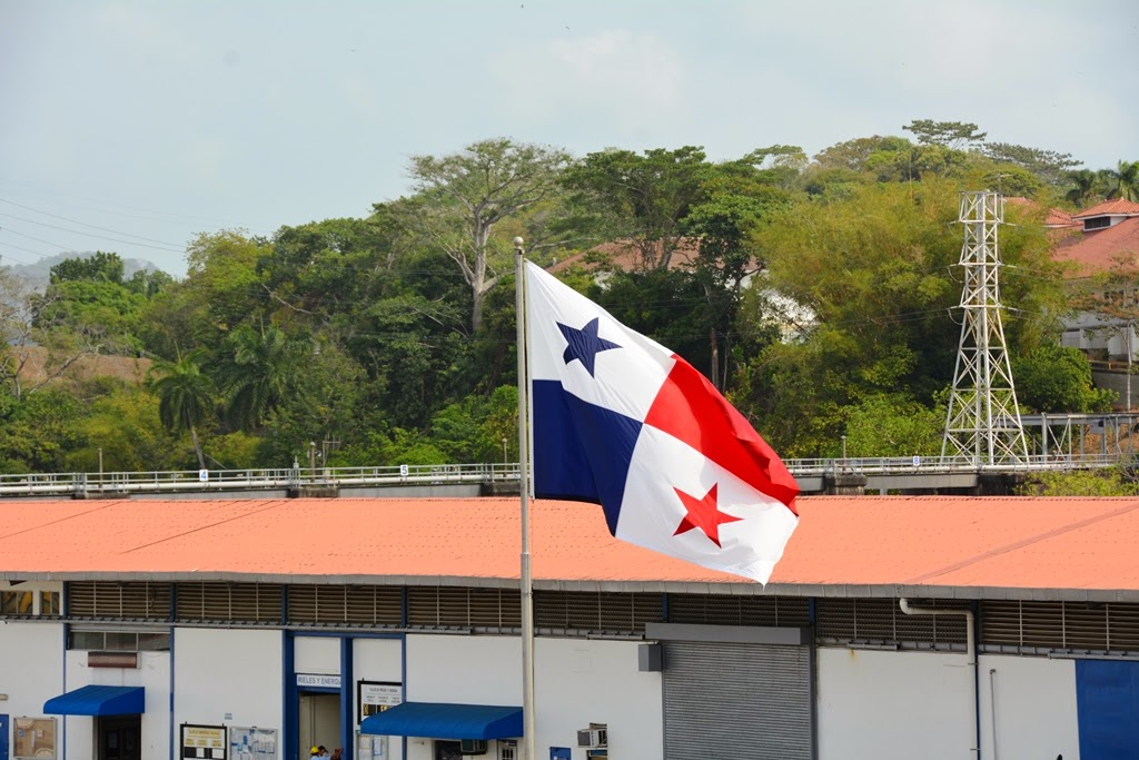 Panama Canal Miraflores Locks flag
