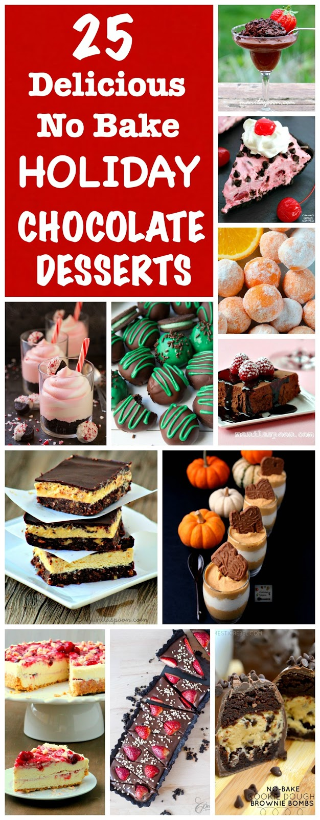 All the chocolate deliciousness you can enjoy in this delectable collection of 25 Delicious NO BAKE Chocolate Desserts!