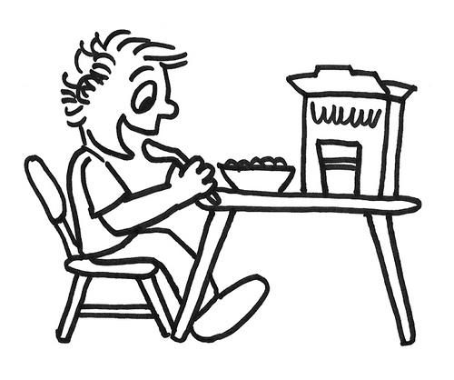 Colorear niño tomando el desayuno. Pintar el dibujo - Portal Escuela