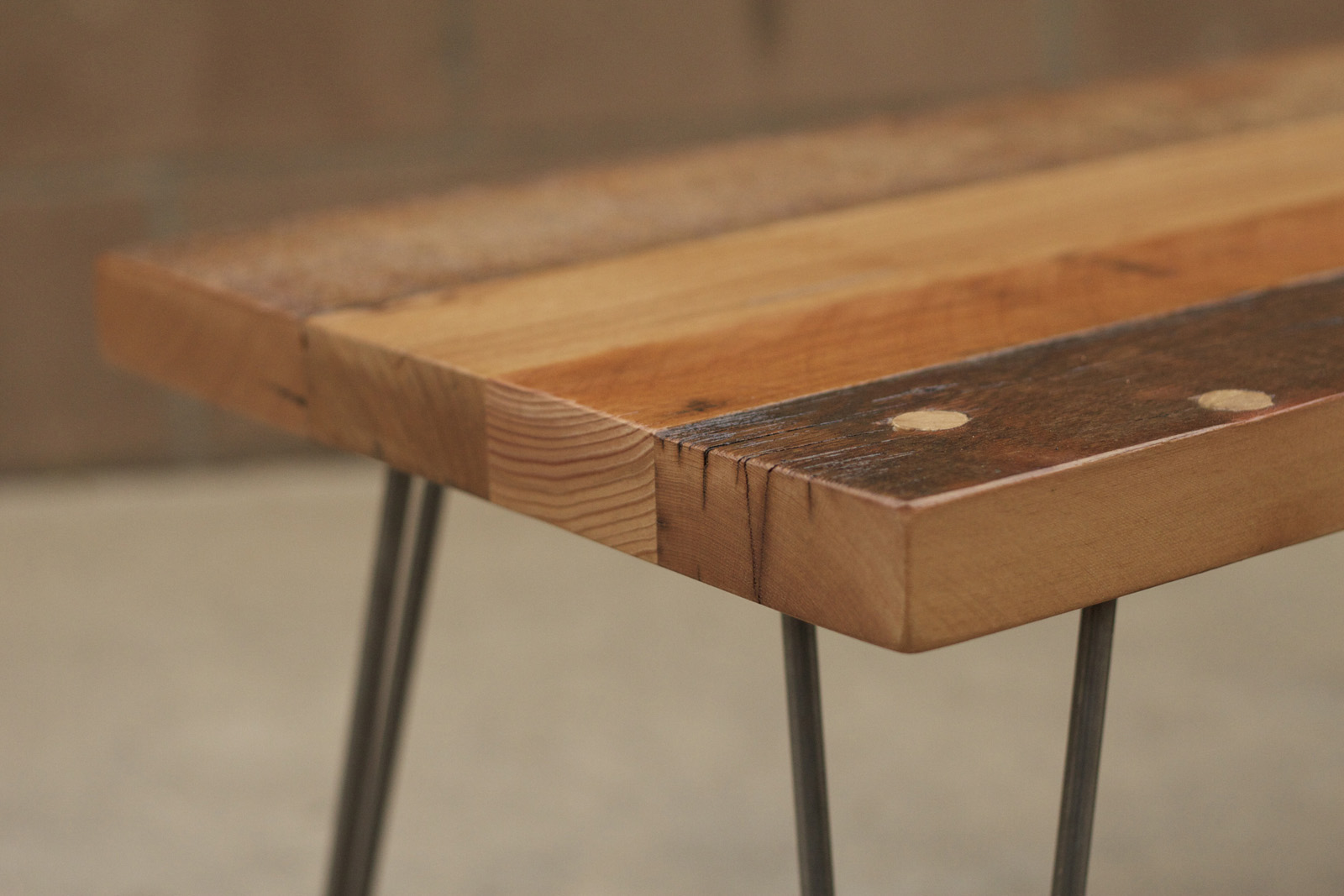 Reclaimed Wood Furniture: Patchwork Coffee Table W/ Hairpin Legs