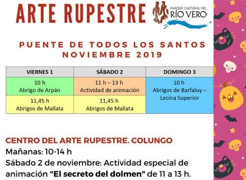 HORARIOS DEL ARTE RUPESTRE EN EL PUENTE DE TODOS LOS SANTOS.