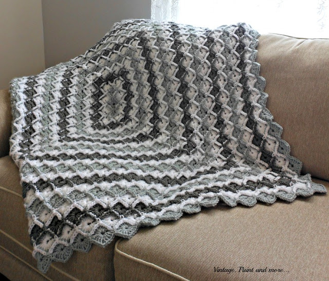 Vintage, Paint and more... crochet diamond pattern afghan