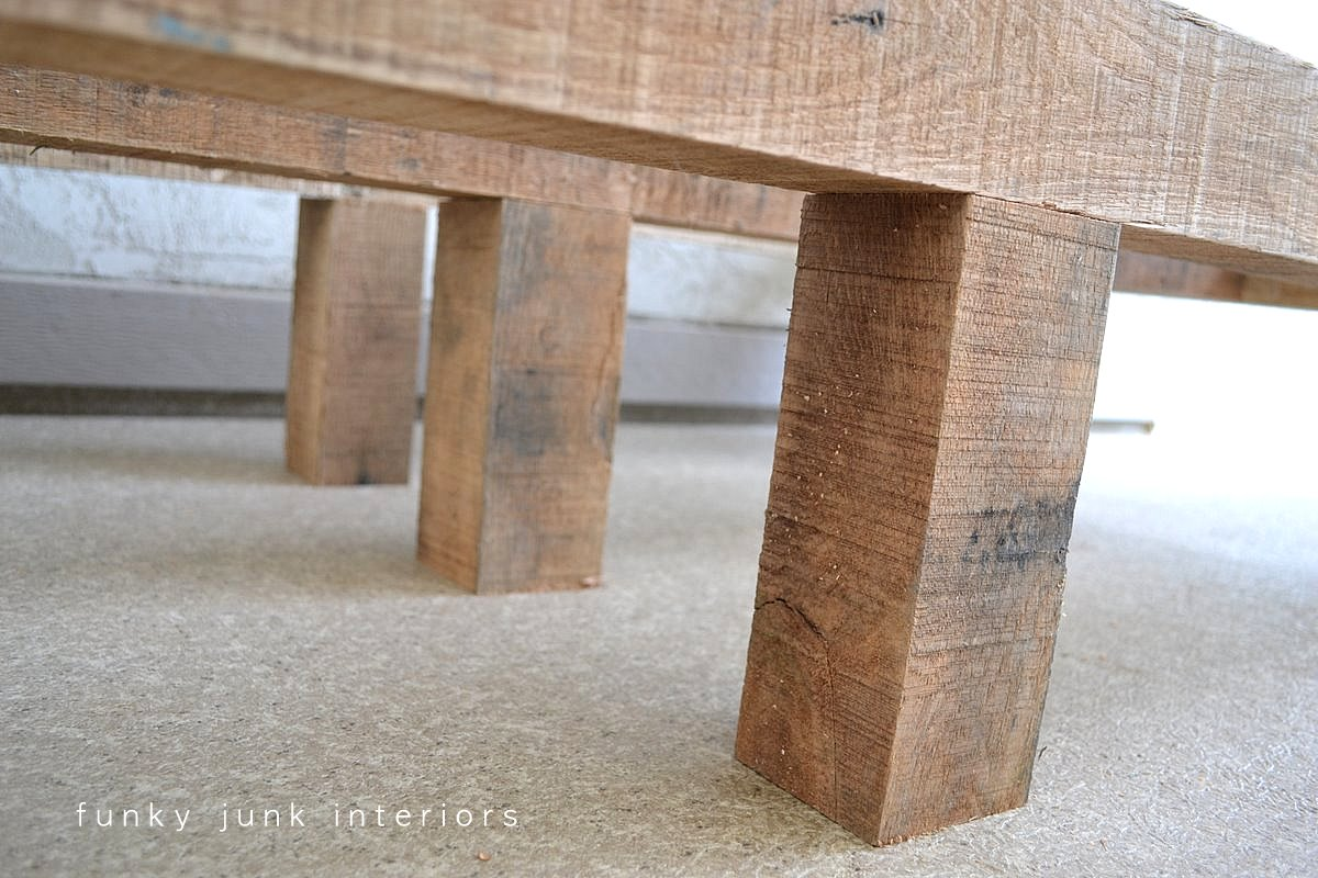 How to build a table base with 4 x 4 lumber - How I Built The Pallet Wood Sofa Part 2 Via Funky Junk Interiors