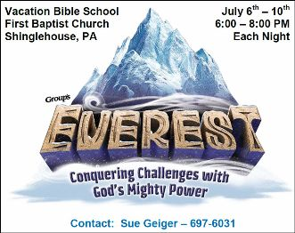 7-6/7/8/9/10 VBS First Baptist, Shinglehouse