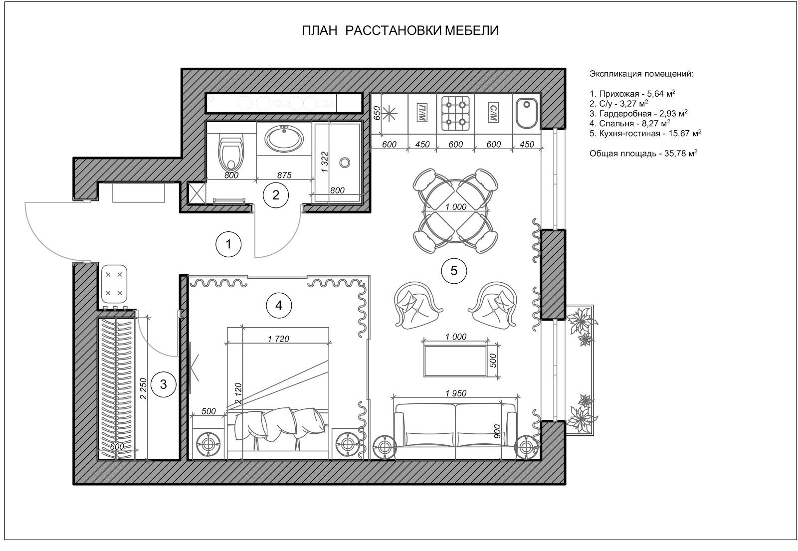 Схема размещения мебели в кабинете