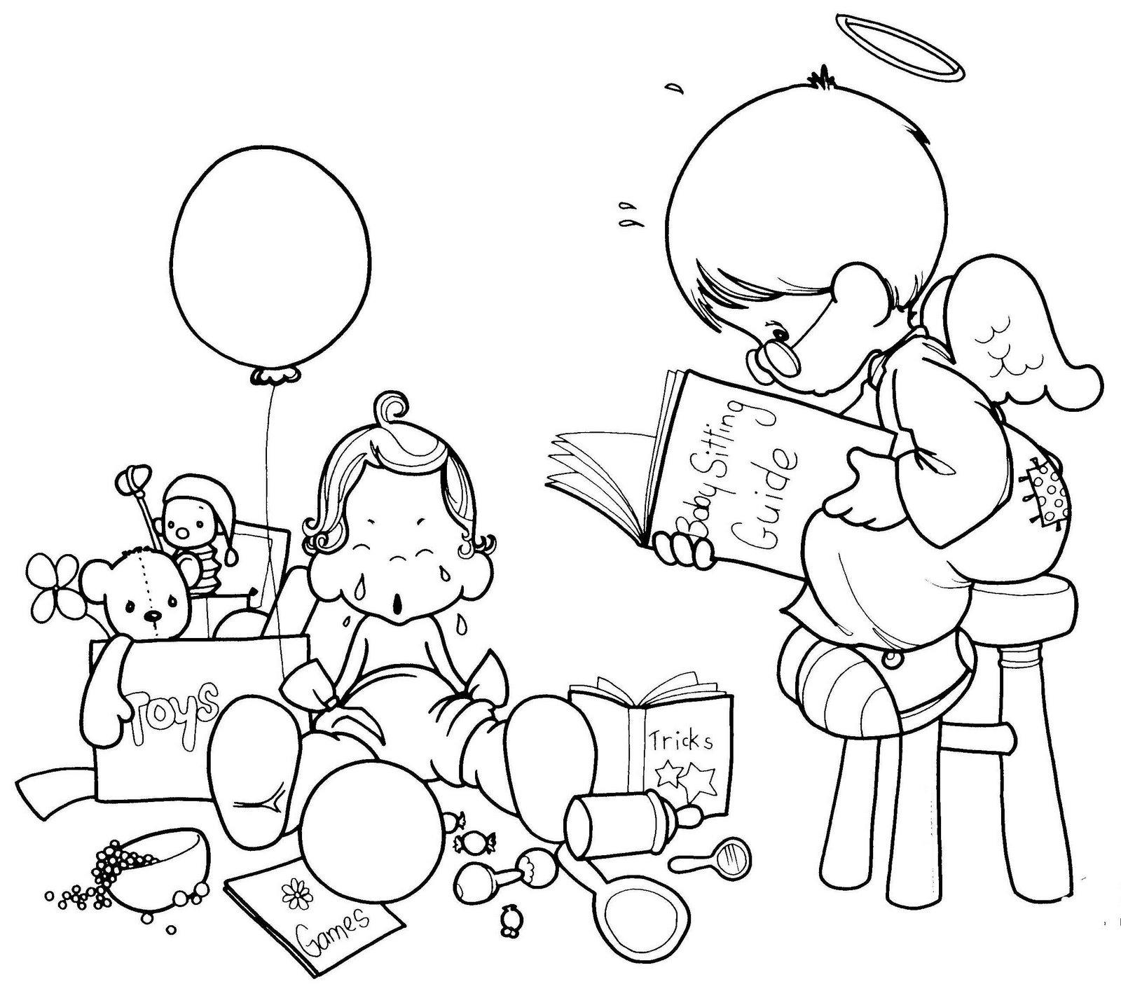 Dibujo De Angelito Ni  Era De Los Preciosos Momentos Para Colorear