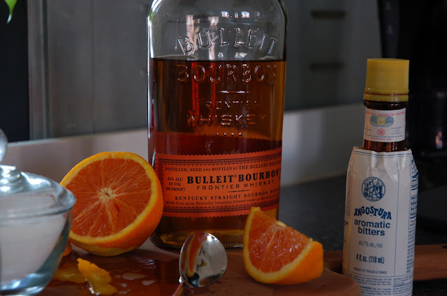 Bulleit Bourbon Whiskey, Oranges and Agostura Bitters