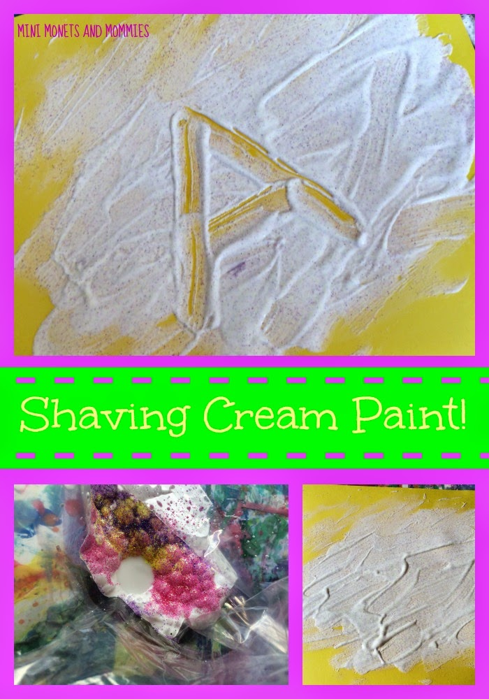 Mini Monets and Mommies: Shaving Cream Glitter Sensory Paint for Kids