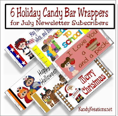 Make the holiday season super easy with these free candy bar wrapper printables. You'll get one printable for the 4th of July, Back to School, Fall, Halloween, Thanksgiving, and Christmas, all designed to fit a 1.5 ounce Heshey candy bar....but hurry, it's only for the month of July!