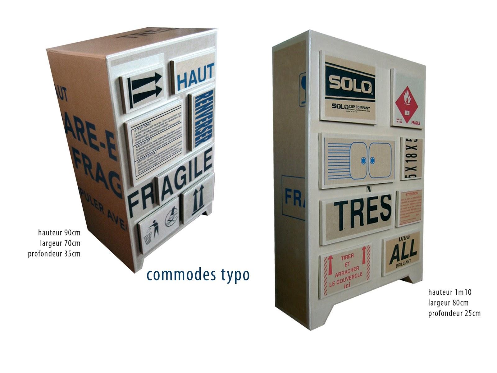 commode en carton. meuble en carton case et tiroirs. création sur mesure fabriqué à marseille par juliadesign.