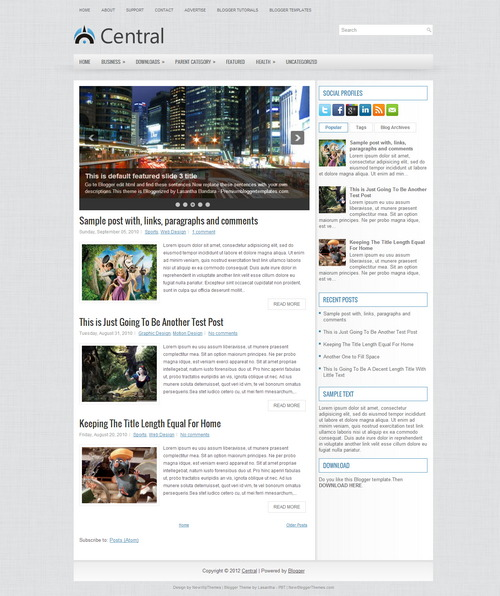central blogger - free blogger templates download