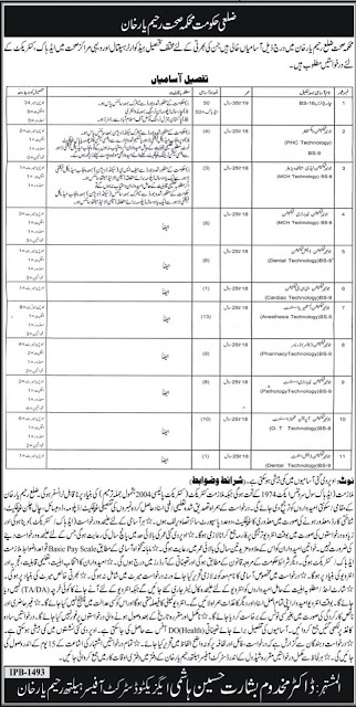 Charge Nurse & Medical Technician Government Jobs in Rahim Yar Khan