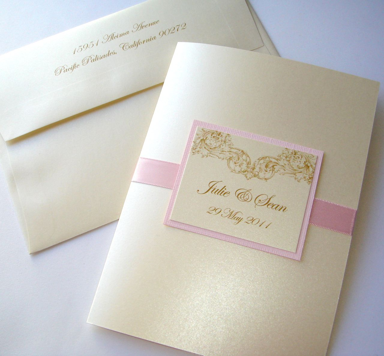Embellished Paperie Blog – Gold and Pink Wedding Invitations