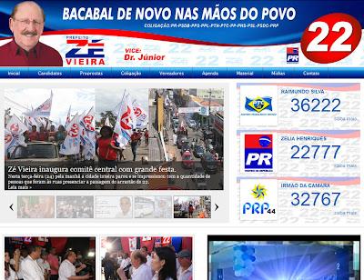 Site de Zé Vieira para campanha a prefeito de Bacabal nas Eleições 2012