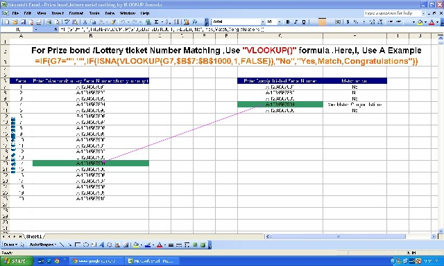 Prize bond lottery ticket serial search after draw use vlookup