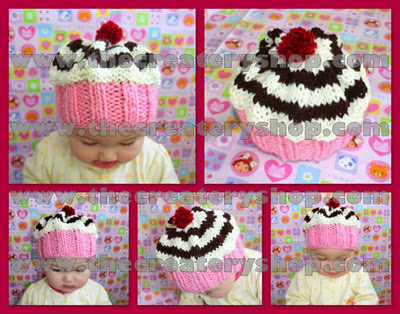 The Createry Shop: Baby Cupcake Swirl Hat Knitting Pattern