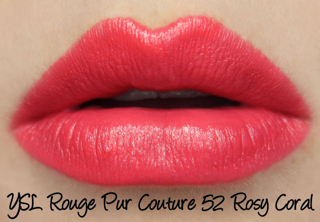 YSL Rouge Pur Couture - 52 Rosy Coral Lipstick Swatches & Review