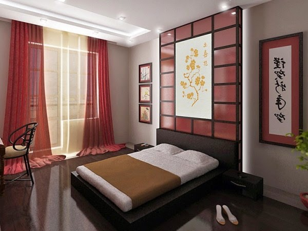 Japanese bedroom design, bedroom wall decor ideas