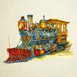 The Jennie K. Steam Locomotive formerly at Cedar Point Amusement Park. Illustration, Deb Klonk