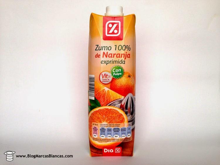 Zumo 100% de naranja exprimida con pulpa DIA.